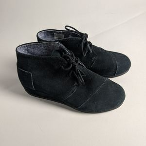 Toms black wedge ankle boots